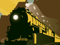 Train digital drawing vector drawing poster illustrator train moving steam light beam smoke shadow