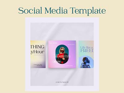 Social Media Template with gradient pastel background logo motion graphics 3d animation ui graphic design best shoot design branding design background
