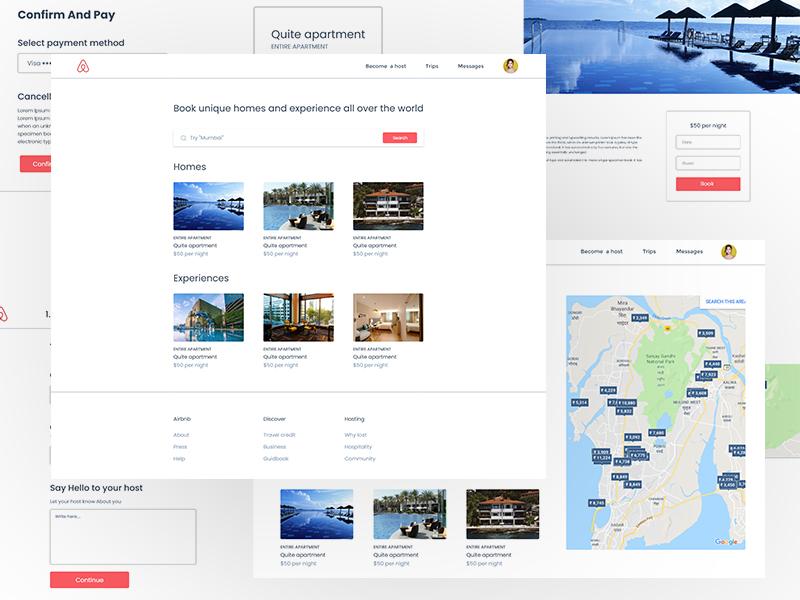 Airbnb Ui airbn hotels illustrator india app bhopal typography icon branding flat  design architecture vector photoshop illustration adobexd landingpage web design ux ui