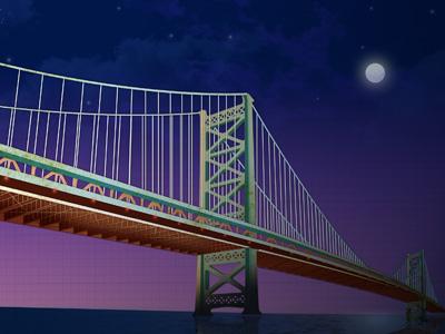 Ben Franklin Bridge philadelphia philly bridge architecture illustration graphic design stars sky