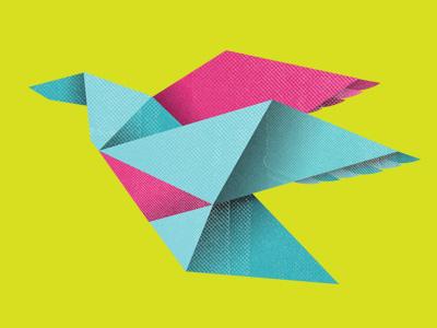 Crane crane bird paper vector illustration flat