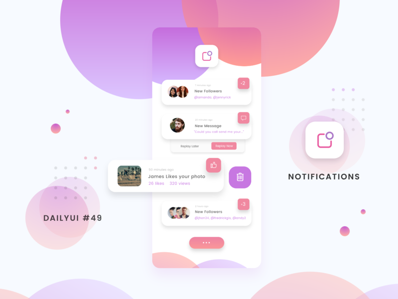 Notifications - DailyUI 049 daily dailyui challenge app dribbble ui mobile mobile app notification notifications dailyui dailyui 049 daily ui daily ui challange invision daily 100 challenge design