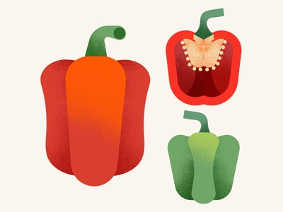 The Greenery | Bell Pepper texture vegetables food red illustration bell pepper