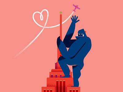 Maya Stepien x Lagom | King of Love empire state building ape monkey celebration texture gold foil card birthday print king kong illustration