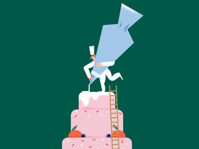 Maya Stepien x Lagom | Happy Birthday To You! chef celebration texture gold foil card birthday print cake illustration