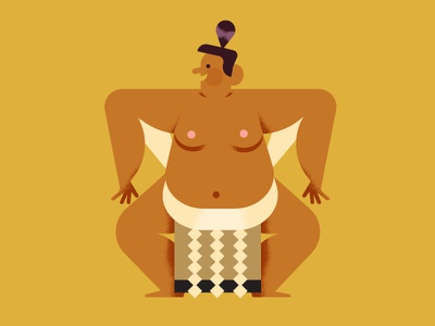 Maya Stepien x Lagom | Sumo: Huge Thanks! japan wrestler celebration texture gold foil card birthday print sumo illustration
