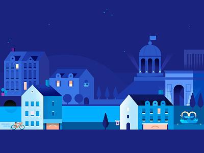 Google Pay   European Cityscape   Night night architecture cityscape europe city app google pay google illustration