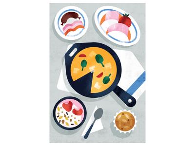 The Wall Street Journal | Breakfast is Served! breakfast editorial food texture illustration