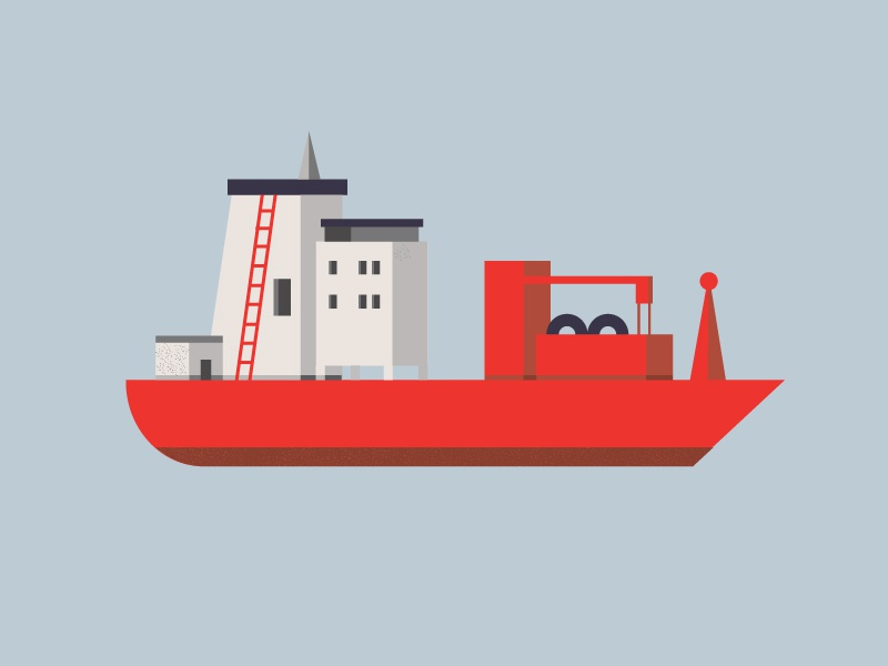 Ship ship sea illustration geometric minimal