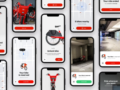 AR Bike Locator - Experience Collection iphone 11 user experience collection ui uber design uber navigation ride sharing onboarding motion interaction ebike device cinema 4d c4d bike augmented reality ar animation 3d