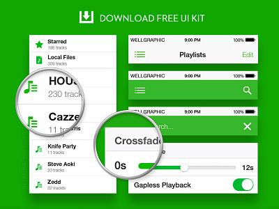 Spotify Redesign UI KIT PSD spotify ui user interface layout psd resource free download music ux photohop illustrator