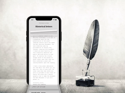 Explore Historical Letters with Realism + Tutorial Video article content discover explore tutorial motion graphic paper book read history letter 3d device iphone web concept interface animation ux ui