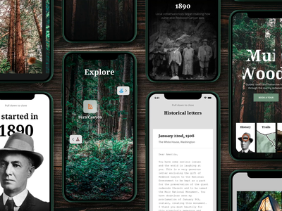 Muir Woods Experience Collection + Tutorial woods forest letter augmented reality browse explore design system colletion reel tutorial cinema 4d after effects iphone 3d device app design concept animation ux ui