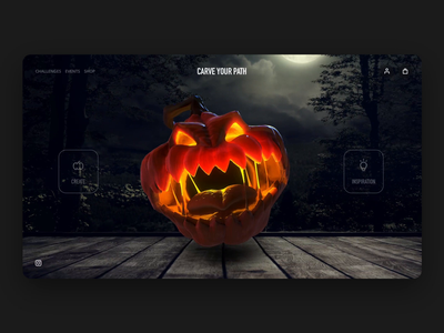 Carve Your Path - Halloween Pumpkin Builder ordering shop browse landing immersive creator tool builder customization interaction cinema 4d 3d animation dribbbleweeklywarmup holiday scary horror pumpkin halloween ux ui