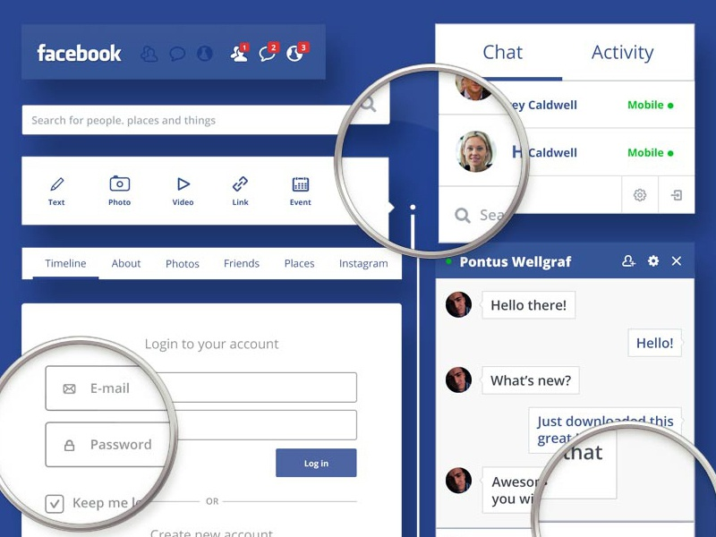 Facebook Redesign - UI KIT PSD layout ui flat psd free redesign web user interface download resource facebook social network
