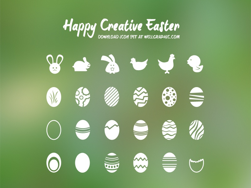 Happy Creative Easter! (Free Easter Vector Icon Set) vector icon easter holiday creative design freebie free resource download psd shape