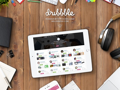 Dribbble Redesign by Pontus Wellgraf, Wellgraphic