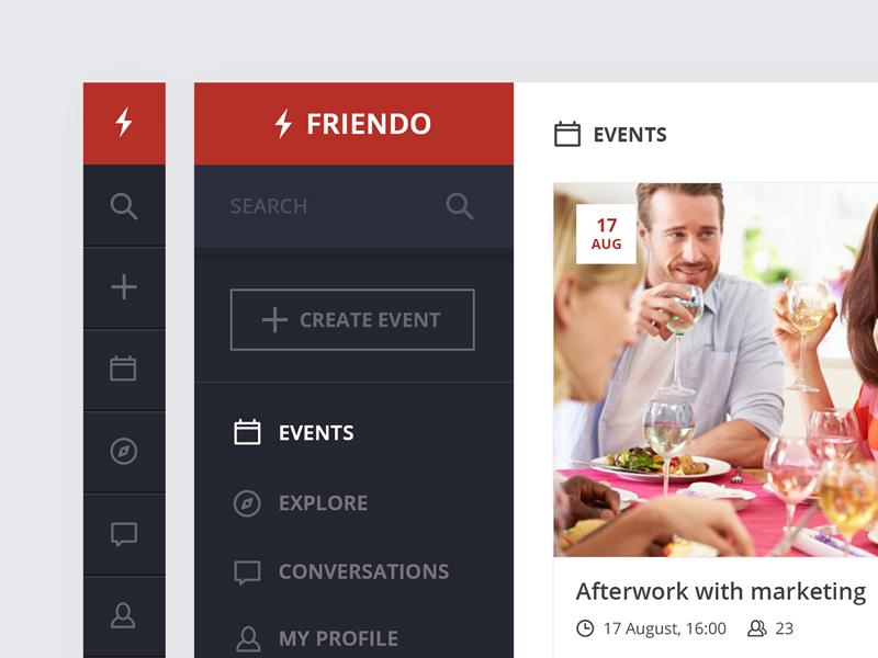 Friendo events - Side menu event navigation menu sidebar webdesign appdesign uxdesign uidesign userexperience userinterface ux ui