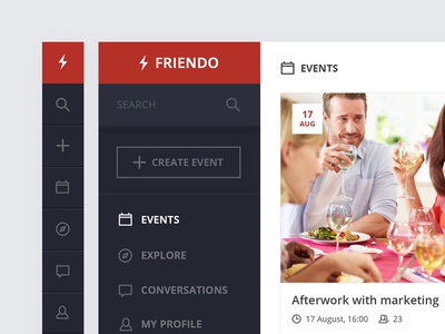 Friendo events - Side menu