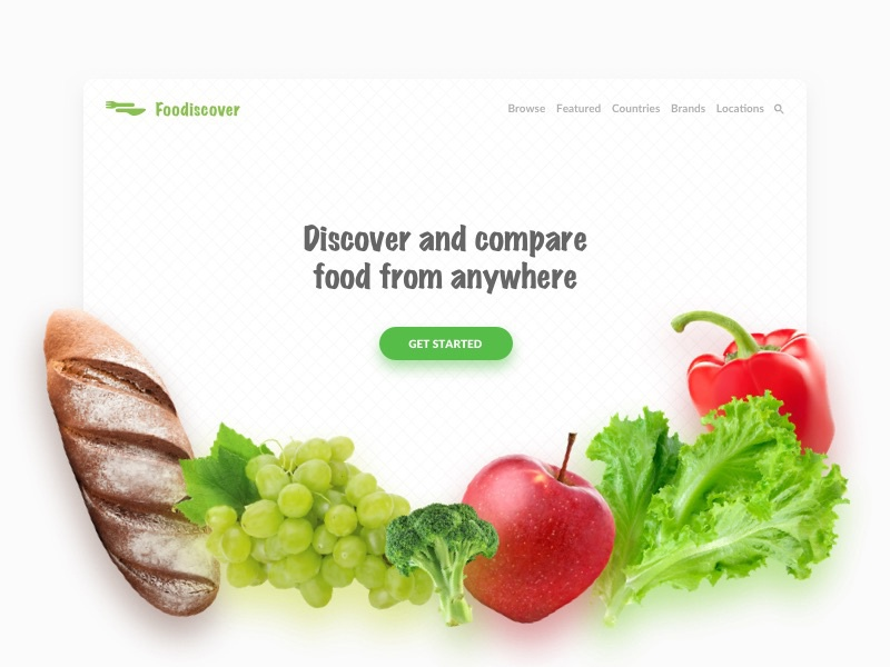 Foodiscover - Landing page ecommerce card groceries food interface webdesign web userinterface ux ui