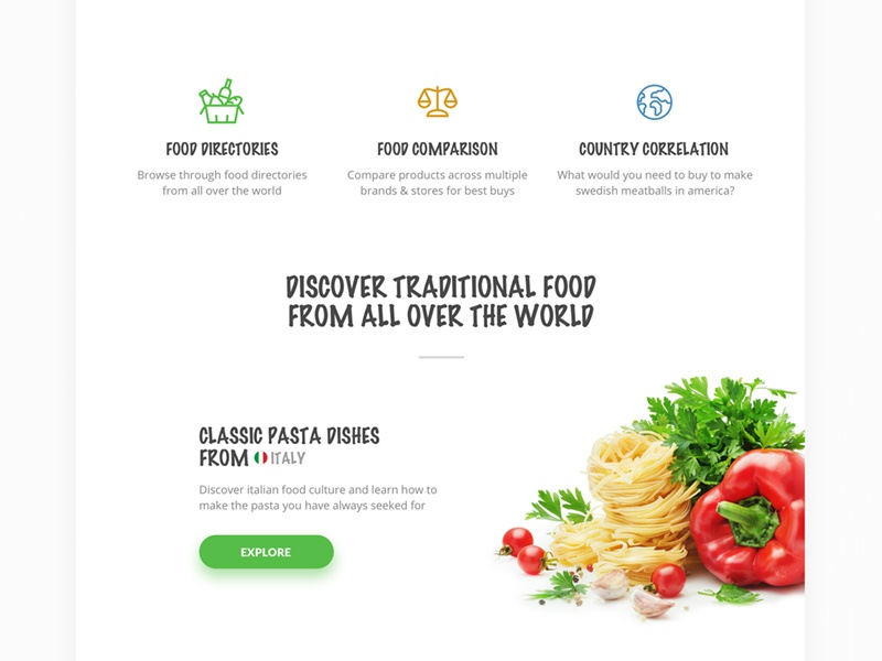Foodiscover - Features ecommerce webapp groceries food landing appdesign uxdesign uidesign userexperience userinterface ux ui