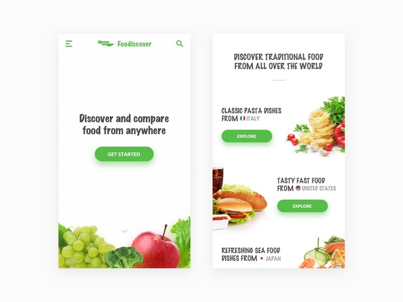 Foodiscover - Mobile Landing ecommerce card groceries food interface webdesign web userinterface ux ui