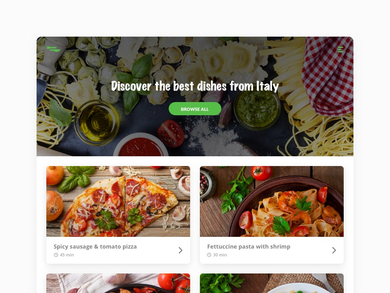 Foodiscover - Discover Dishes ecommerce card groceries food interface webdesign web userinterface ux ui