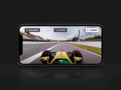 Formula 1 - Dual Screen Viewing Experience stream racing sport motion video viewing gif formula 1 device car automotive animation ux ui user interace after effects 3d