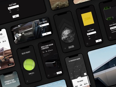 Tesla Cybertruck - Experience Collection design system mobile device explore browsing automotive vehicle interaction cybertruck tesla app design webdesign redesign concept user interface interface ux exploration ui experience