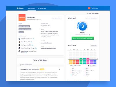 Abaca • Entrepreneur Profile Page modules design clean company ui ux assessment graphic profile investors entrepreneurs desktop web app