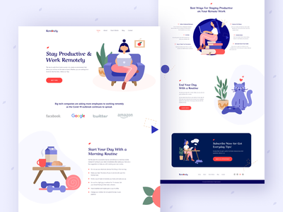 Remotely - Remote Work Landing Page vector dribbble best shot productive work from home coronavirus covid-19 social distance remotework branding logo ux ui illustration design typography uidesign landing page creative web minimal
