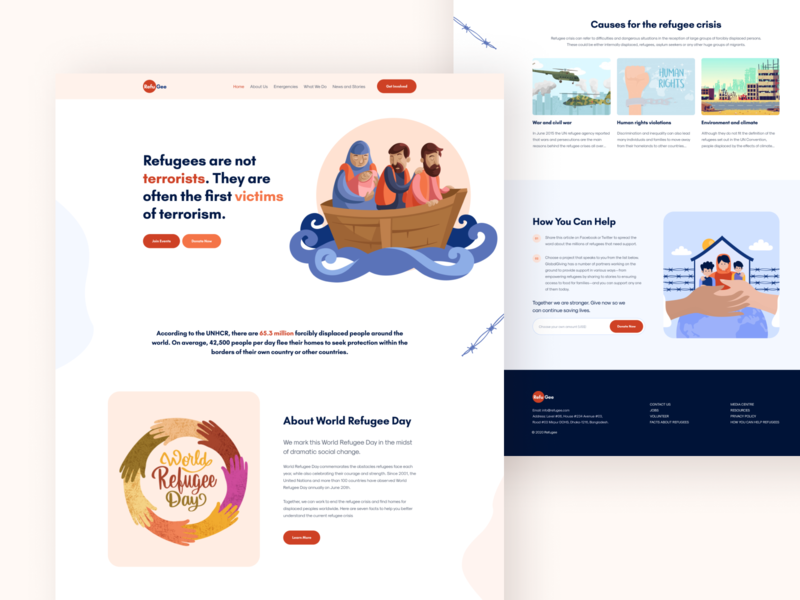 Refugee Landing Page web design figma flat vector branding donation charity logo illustration website ux ui uidesign typography landing page creative web minimal world refugee day refugee