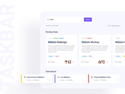 Task Management System search bar trend 2020 icon web task board task list task management web application dashboard flat clean ux branding ui design uidesign typography creative minimal