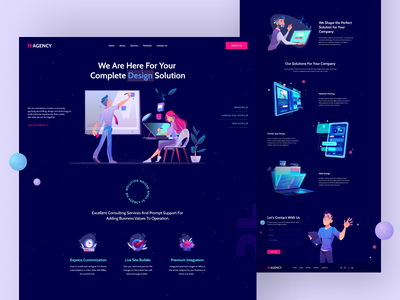 RH Agency Landing colorful 2020 trend website icon agency user experience userinterface trend dribbble best shot illustration vector flat logo ux ui typography landing page creative web minimal