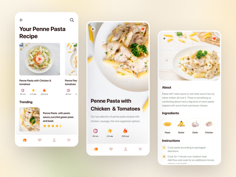 Cooking Recipe App color palette trend dribbble best shot app design recipe app food mobile app vector clean flat branding ux design ui uidesign typography app creative web minimal