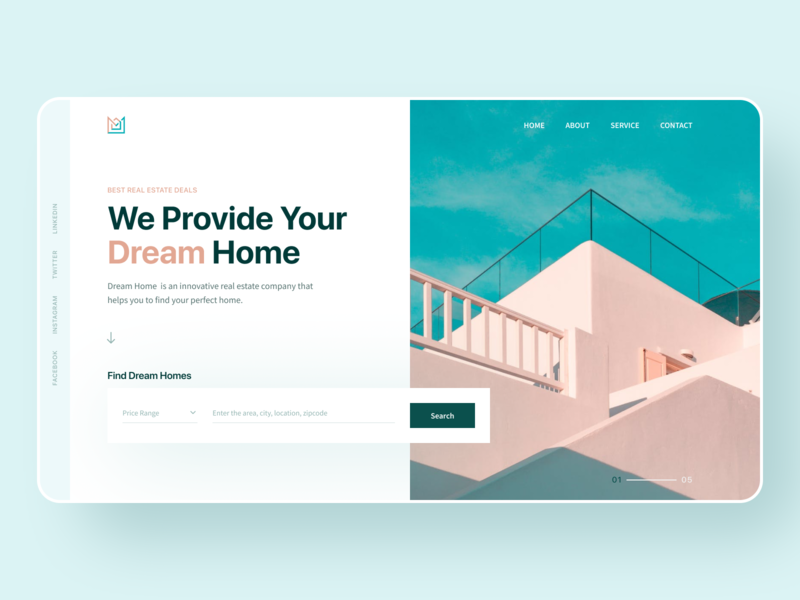 Real Estate Agency Hero Exploration website building best dribbble shot trendy typography vector logo real estate 2020 trend agency clean flat branding ux uidesign ui landing page creative web minimal