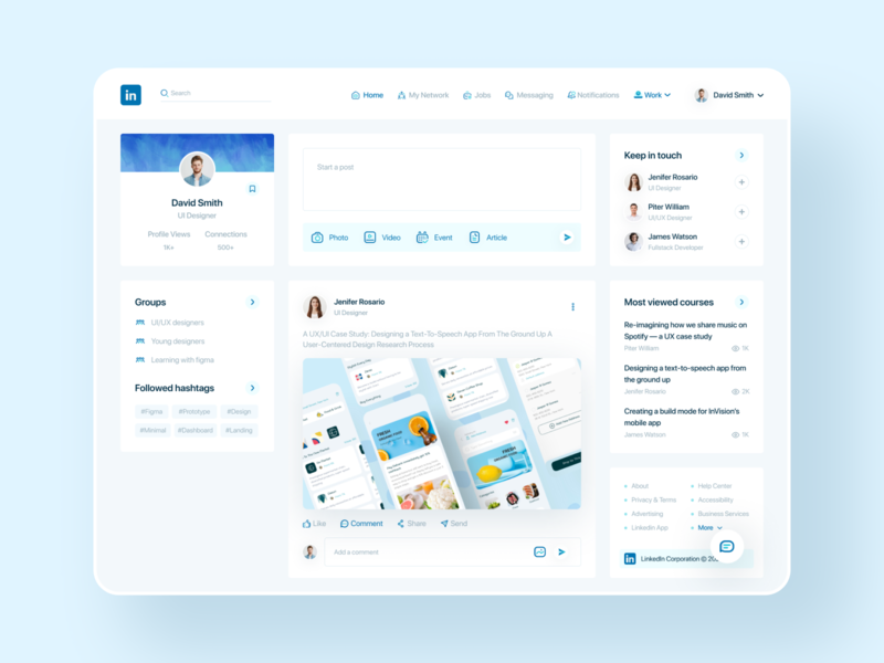 Linkedin Redesign redesign website typography branding dribbble best shot trendy ux design linkedin dashboard vector app clean icon flat ui creative web uidesign minimal