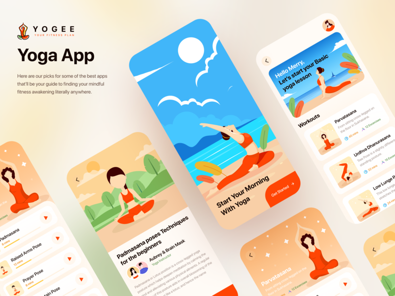 YOGEE - Yoga App branding design health app yoga trendy clean dribbble best shot icon illustration vector logo flat design branding ux ui uidesign typography creative minimal