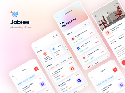 Jobiee - A Job Searching Platform App UI clean ux ui creative 2021 trend app ui design trendy flat job application job search job listing job minimal