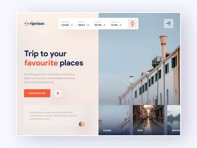 Tripvisor - Your Travel Assistant hero section header exploration 2021 trend travel agency travel tourist tour trip planner logo vector clean design landing page flat ux web ui uidesign creative minimal