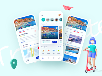 Travello - Your A to Z Travel Solution 2021 trend trip trip planner tour tourist tourism travel app icon vector clean design flat ux typography ui creative minimal