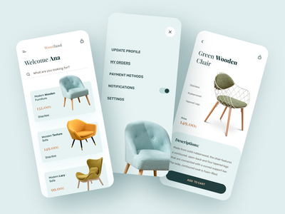 Furniture App Design - Ecommerce buy online shop ecommerce sofa table chair mobile app mobile furniture store furniture app furniture wood creative clean flat ux typography minimal