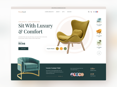 Woodland - Product Landing Page online store cart shopify shop ecommerce design store furniture chair branding clean landing page flat ux web uidesign ui typography creative minimal