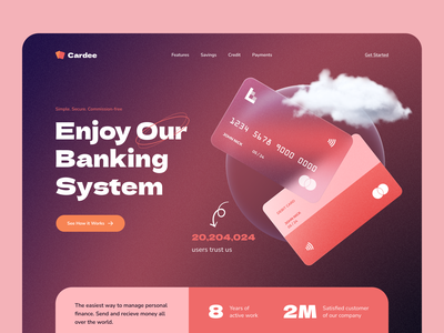 Cardee - Your Future Banking System header exploration ux 2021 trend trend neon effect cards ui bank neon glassmorphism glass effect website branding clean flat web uidesign typography ui creative minimal