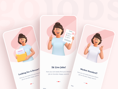 GoJobs Onboarding UI job job portal online job ejobs splash onboarding mobile app appui app ux uidesign typography ui creative minimal