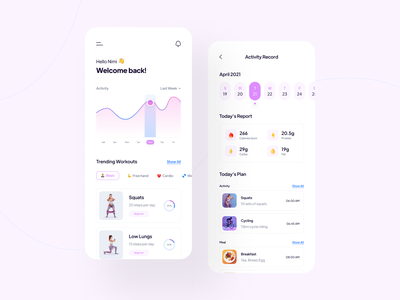 Fitness App UI ux ios workout interface mobile app ui app exercise gym fitness wellness activity tracker sport trainer ui creative minimal