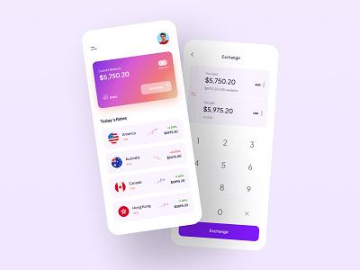 Currency Exchange App UI clean finance money transfer currency currency exchange personal wallet wallet mobile app ui app ui ux uidesign ui creative minimal