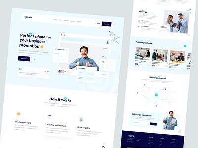Bizpro - A Business Promotion Solution figma company enterprise social media startup digital content digital marketing promote marketing agency solution promotion business design web ux uidesign ui creative minimal