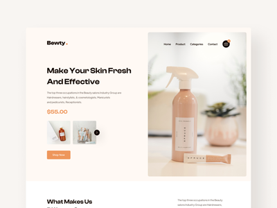 Bewty Product Landing Page design website personal care landingpage homepage trendy product beauty cosmetic makeup skincare web typography ux uidesign ui creative minimal