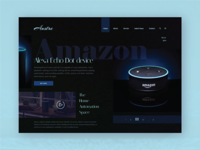Austre - Product Landing Exploration figma 2019 trends product landing page marketing homepage header dark blue hero section website banner webdeisgn typography interface interaction concept ui deisgn uiux alexa amazon product branding landing page